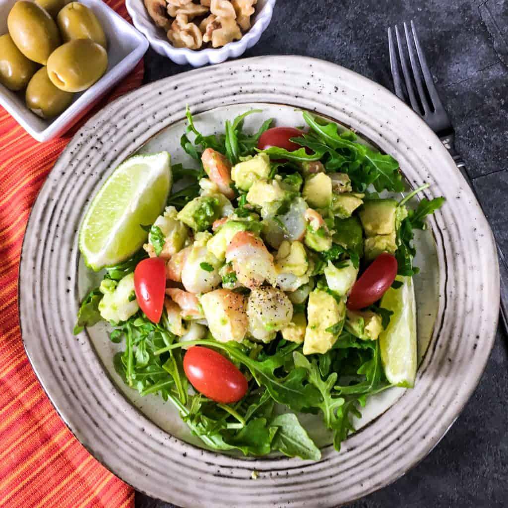 keto avocado shrimp salad in a bowl