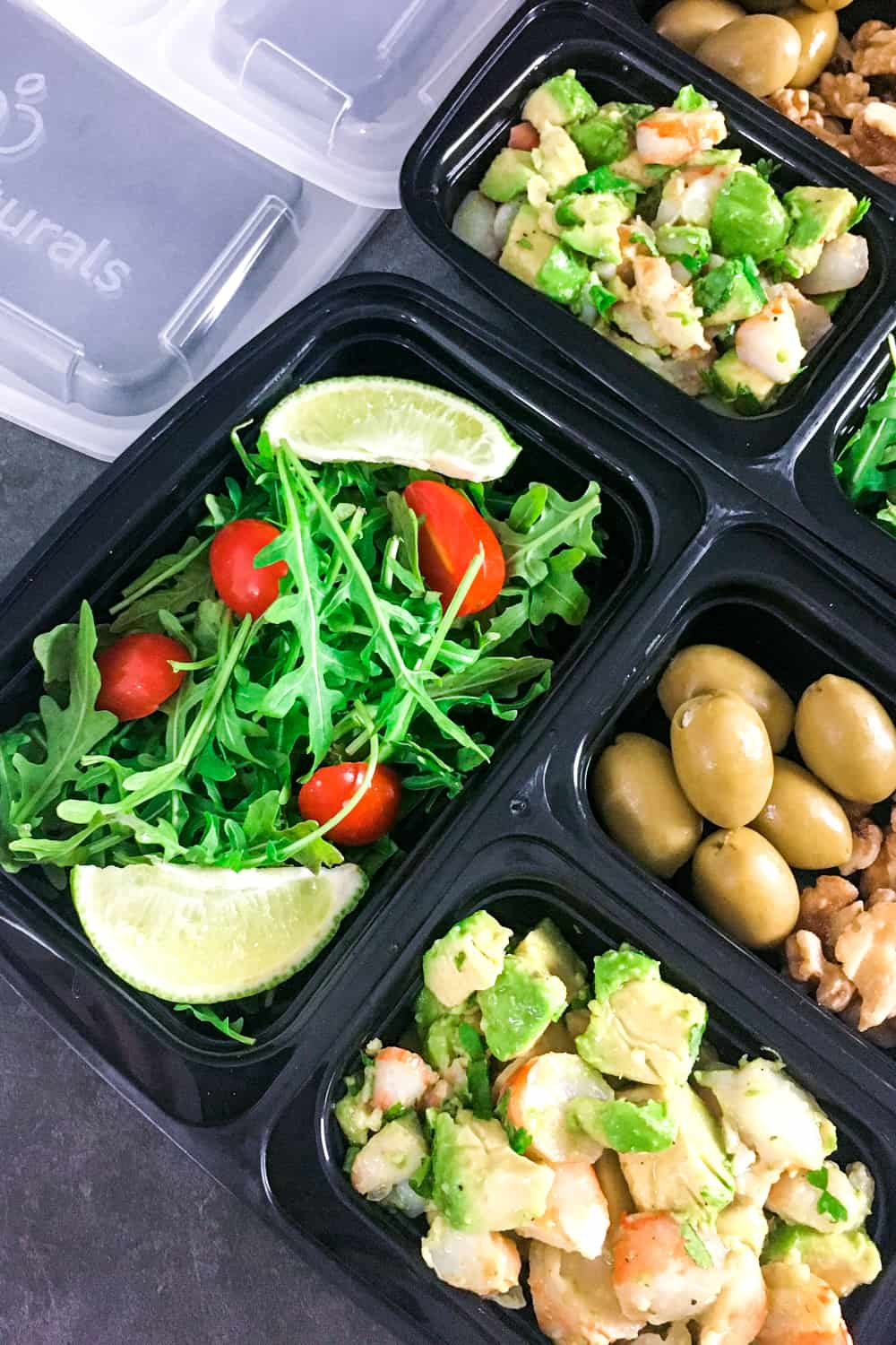 keto meal prep idea, salad ingredients in to go container