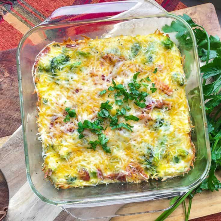 keto egg casserole in glass baking dish