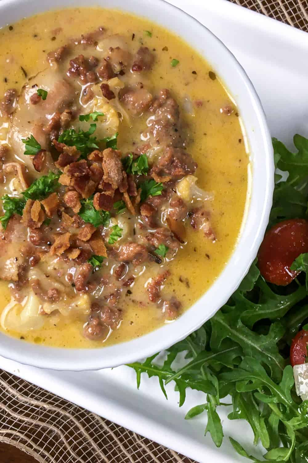 keto cheeseburger soup in bowl