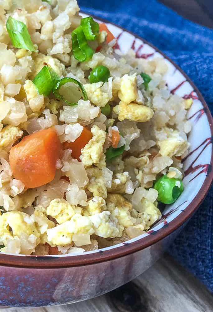 close up of keto fried cauliflower rice