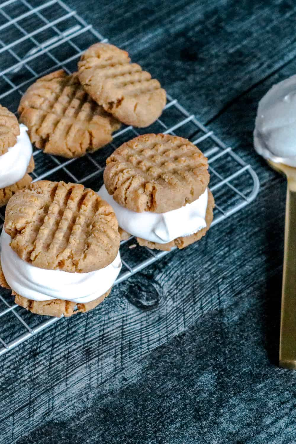 Close up of cookies with ice cream filling, to demonstrate keto friendly dessert
