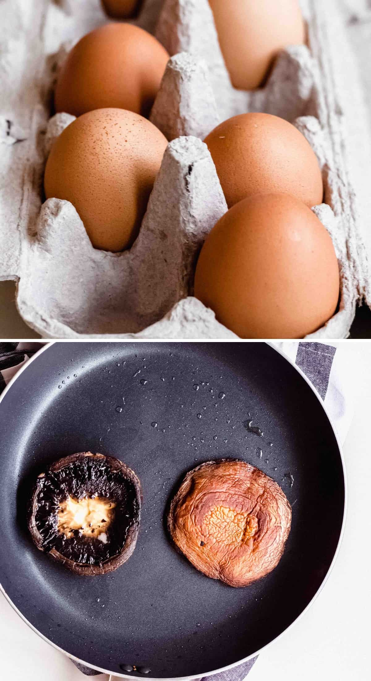 photo with eggs in a carton and mushrooms on a frying pan